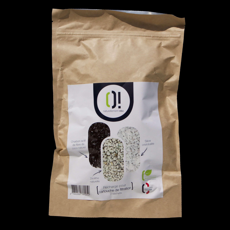 Recharge pour cartouche de filtration Naturellement O!  Charbon actif, zéolithe et silice